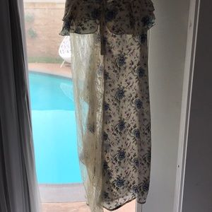 Topshop Dresses - TOPSHOP cream floral ruffle see through lace dress